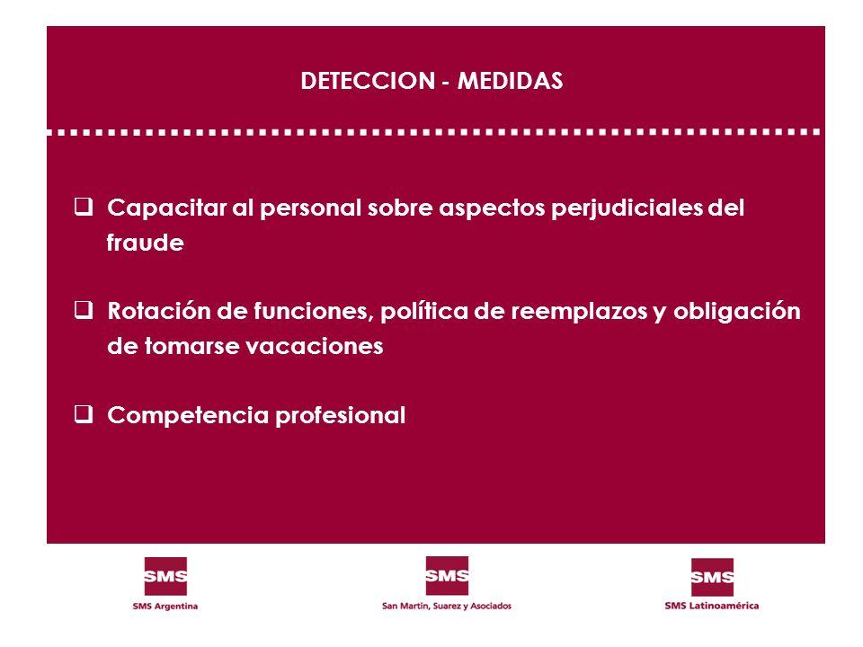 DETECCION - MEDIDAS Capacitar al personal sobre aspectos perjudiciales del. fraude. Rotación de funciones, política de reemplazos y obligación.