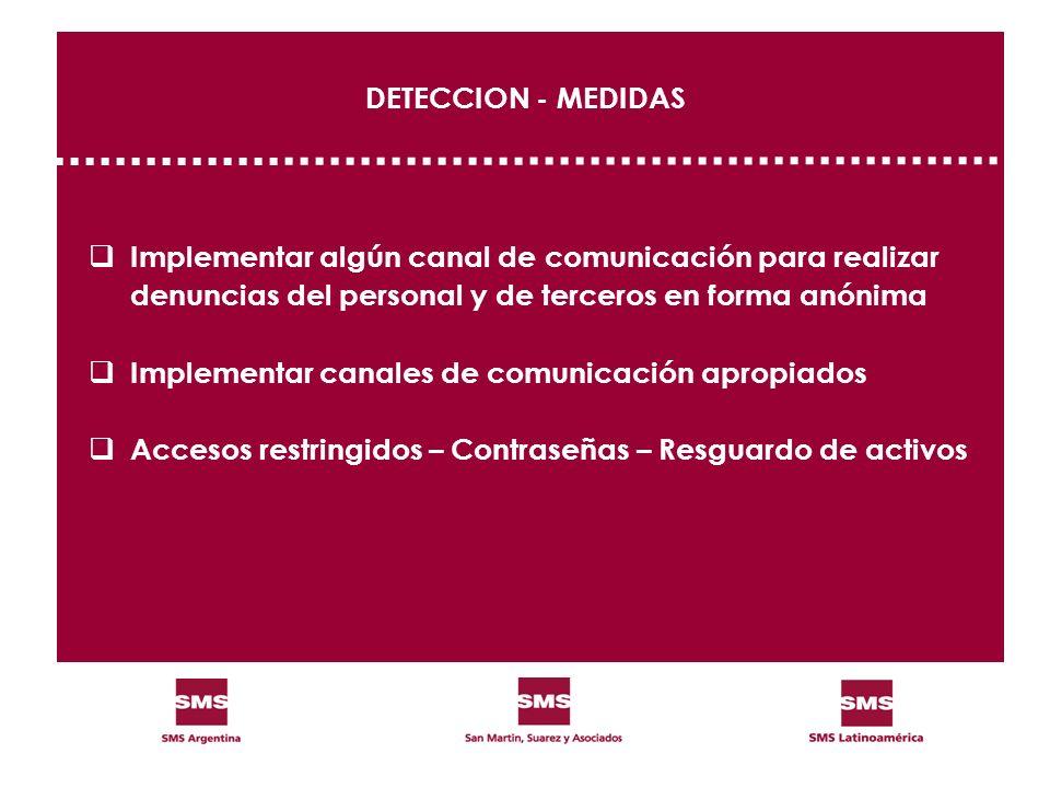 DETECCION - MEDIDAS Implementar algún canal de comunicación para realizar. denuncias del personal y de terceros en forma anónima.