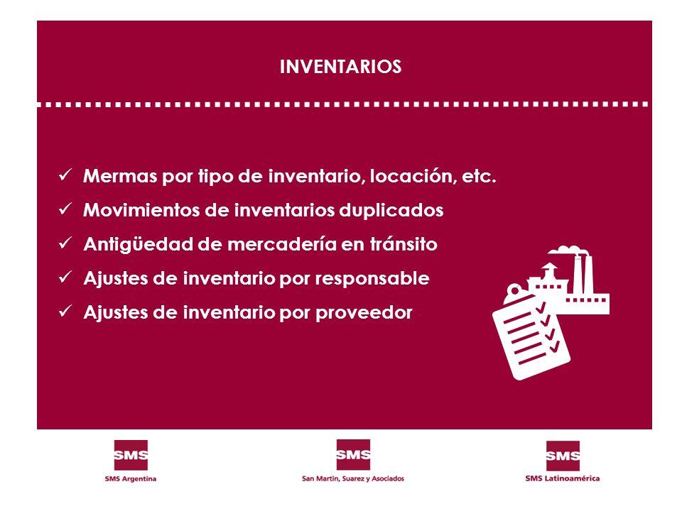 INVENTARIOS Mermas por tipo de inventario, locación, etc. Movimientos de inventarios duplicados. Antigüedad de mercadería en tránsito.