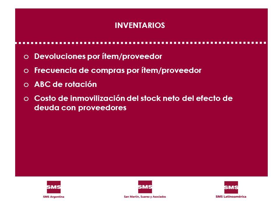 INVENTARIOS Devoluciones por ítem/proveedor. Frecuencia de compras por ítem/proveedor. ABC de rotación.