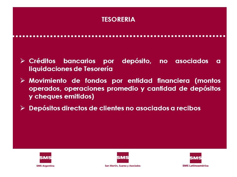 TESORERIA Créditos bancarios por depósito, no asociados a liquidaciones de Tesorería.