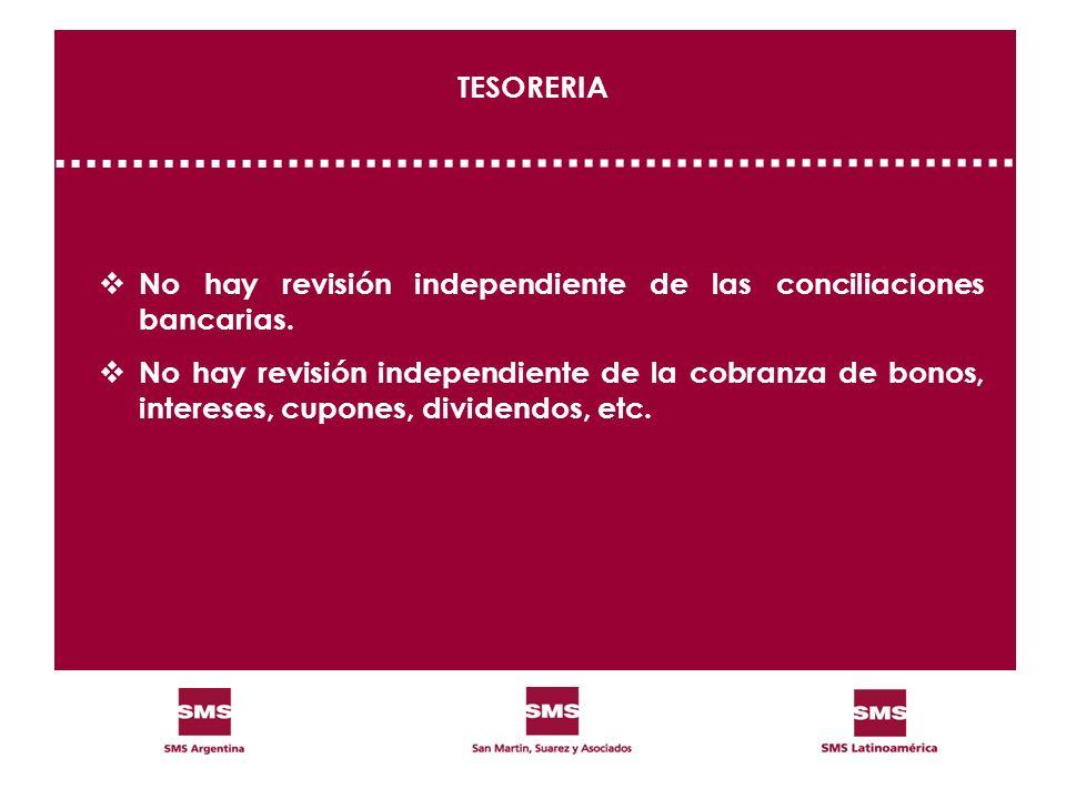 TESORERIA No hay revisión independiente de las conciliaciones bancarias.