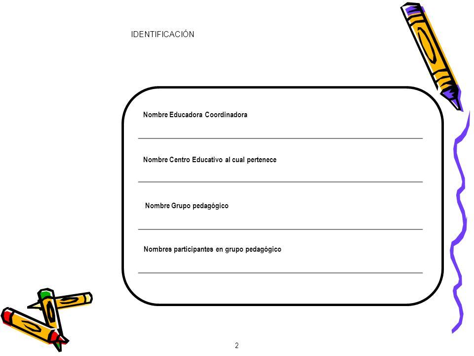 IDENTIFICACIÓN Nombre Educadora Coordinadora. Nombre Centro Educativo al cual pertenece. Nombre Grupo pedagógico.