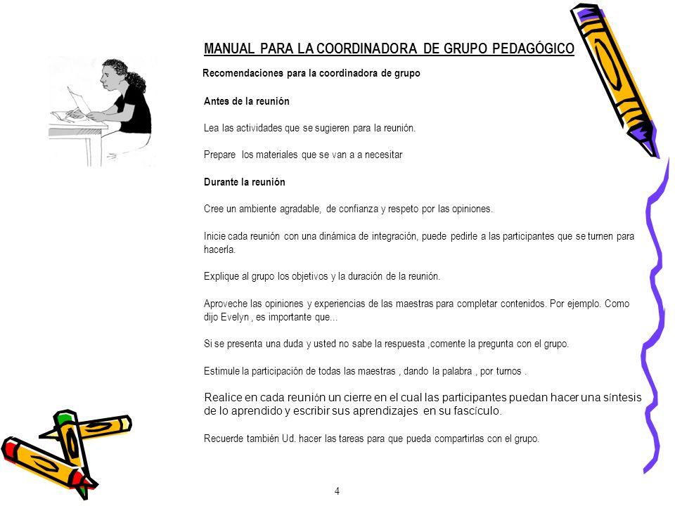 MANUAL PARA LA COORDINADORA DE GRUPO PEDAGÓGICO
