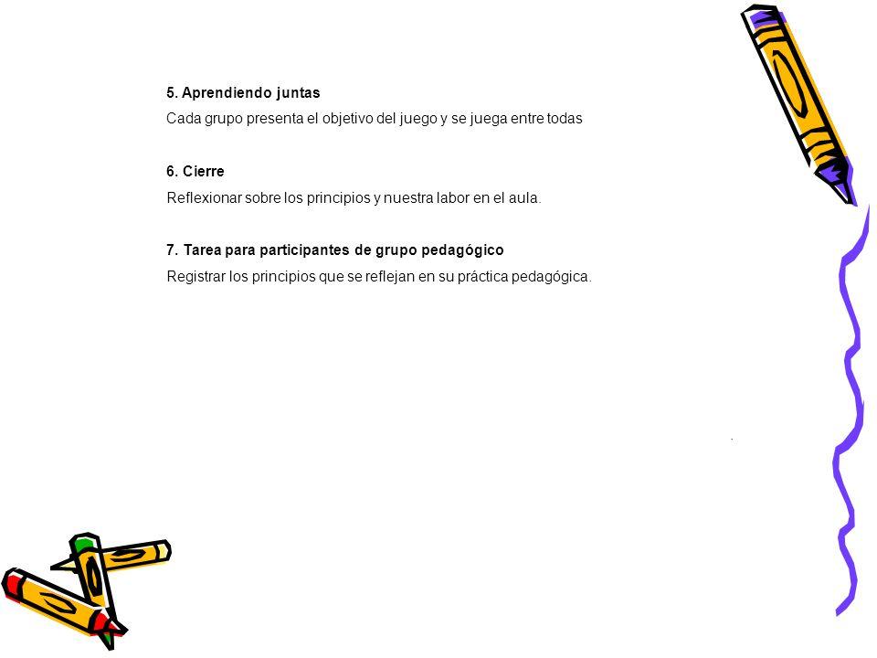 5. Aprendiendo juntas Cada grupo presenta el objetivo del juego y se juega entre todas. 6. Cierre.