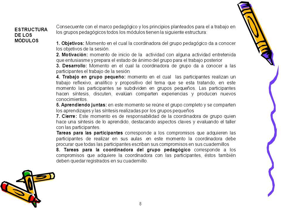 Consecuente con el marco pedagógico y los principios planteados para el a trabajo en los grupos pedagógicos todos los módulos tienen la siguiente estructura: