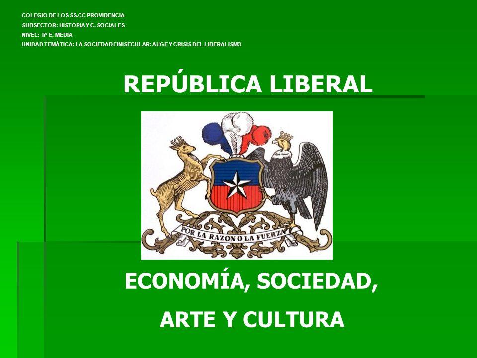 REPÚBLICA LIBERAL ECONOMÍA, SOCIEDAD, ARTE Y CULTURA