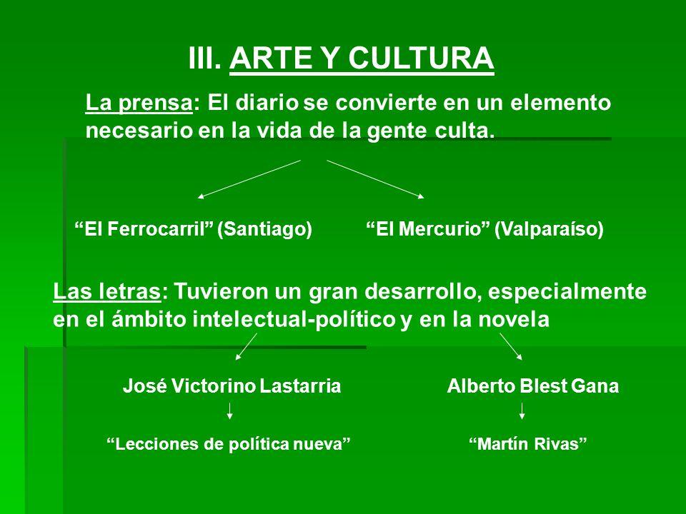 III. ARTE Y CULTURA La prensa: El diario se convierte en un elemento necesario en la vida de la gente culta.
