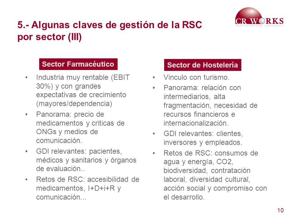 5.- Algunas claves de gestión de la RSC por sector (III)