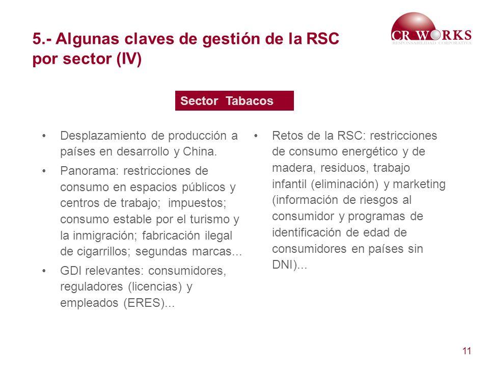 5.- Algunas claves de gestión de la RSC por sector (IV)