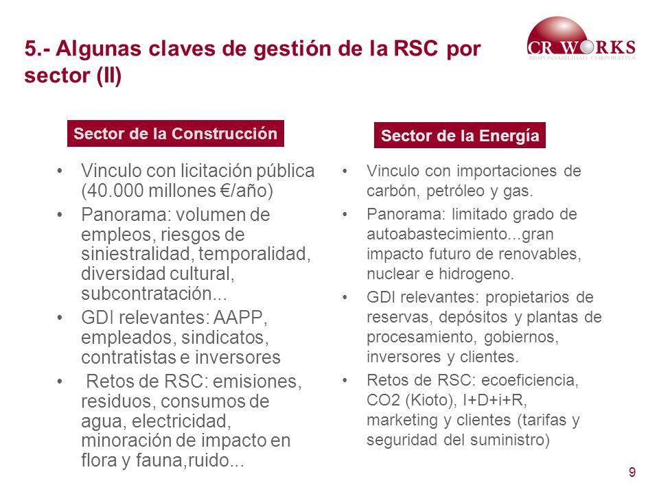 5.- Algunas claves de gestión de la RSC por sector (II)