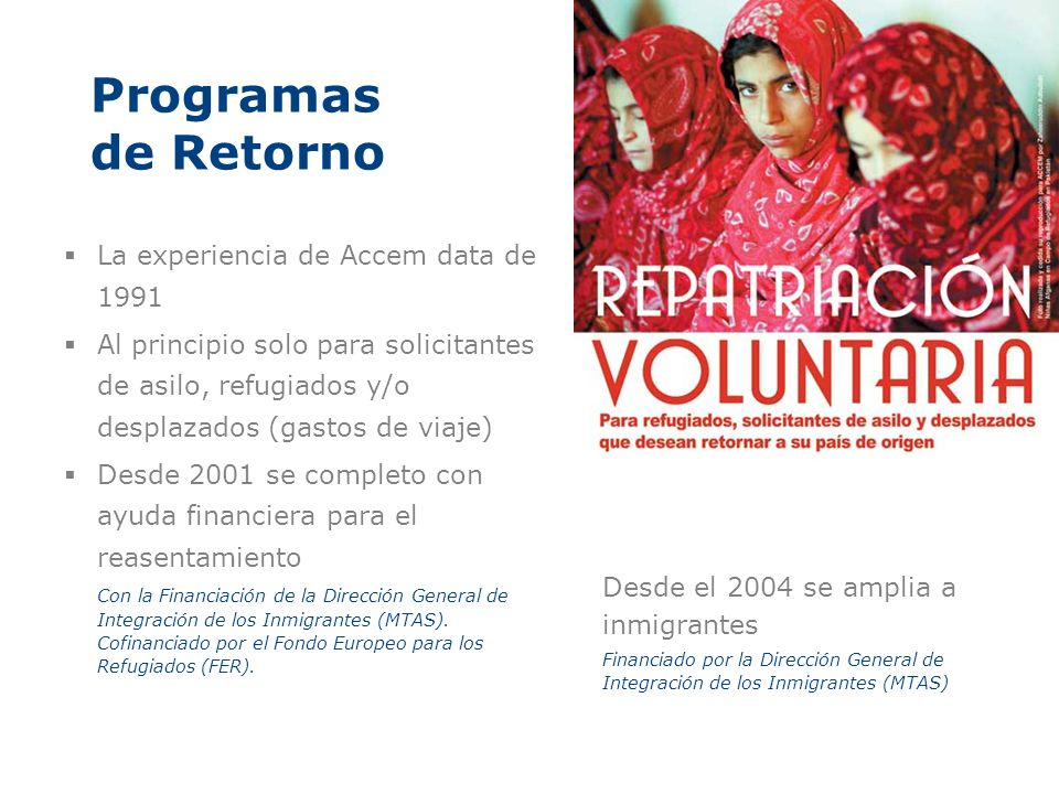 Programas de Retorno La experiencia de Accem data de 1991