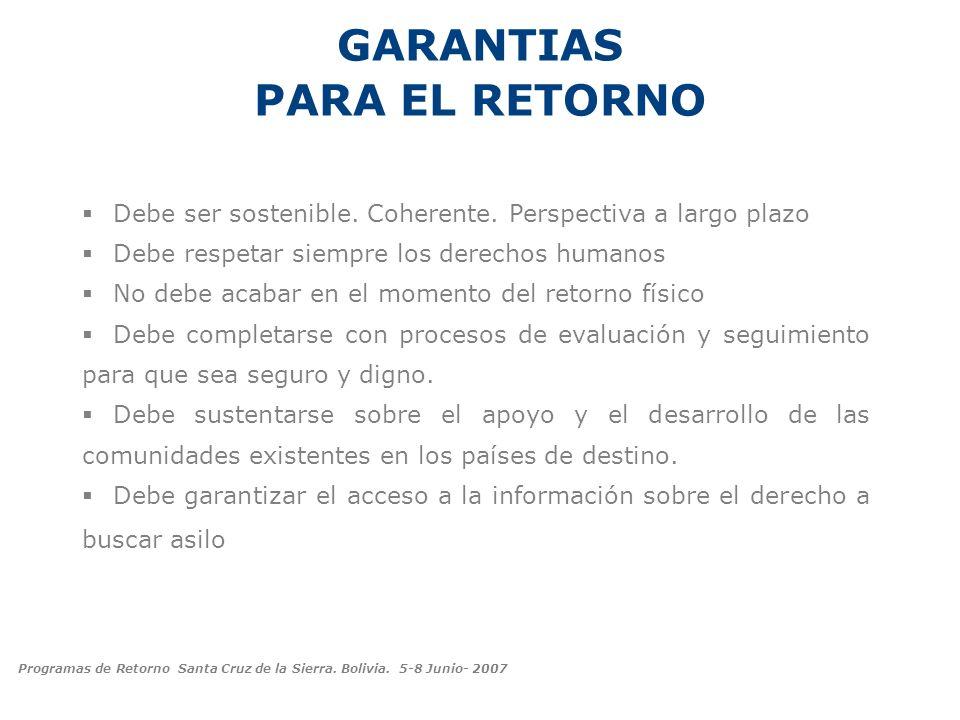 GARANTIAS PARA EL RETORNO