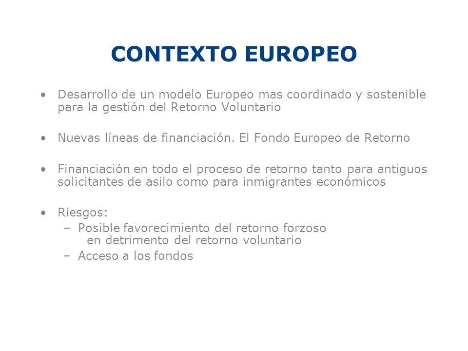 CONTEXTO EUROPEO Desarrollo de un modelo Europeo mas coordinado y sostenible para la gestión del Retorno Voluntario.