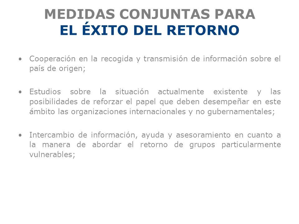 MEDIDAS CONJUNTAS PARA EL ÉXITO DEL RETORNO
