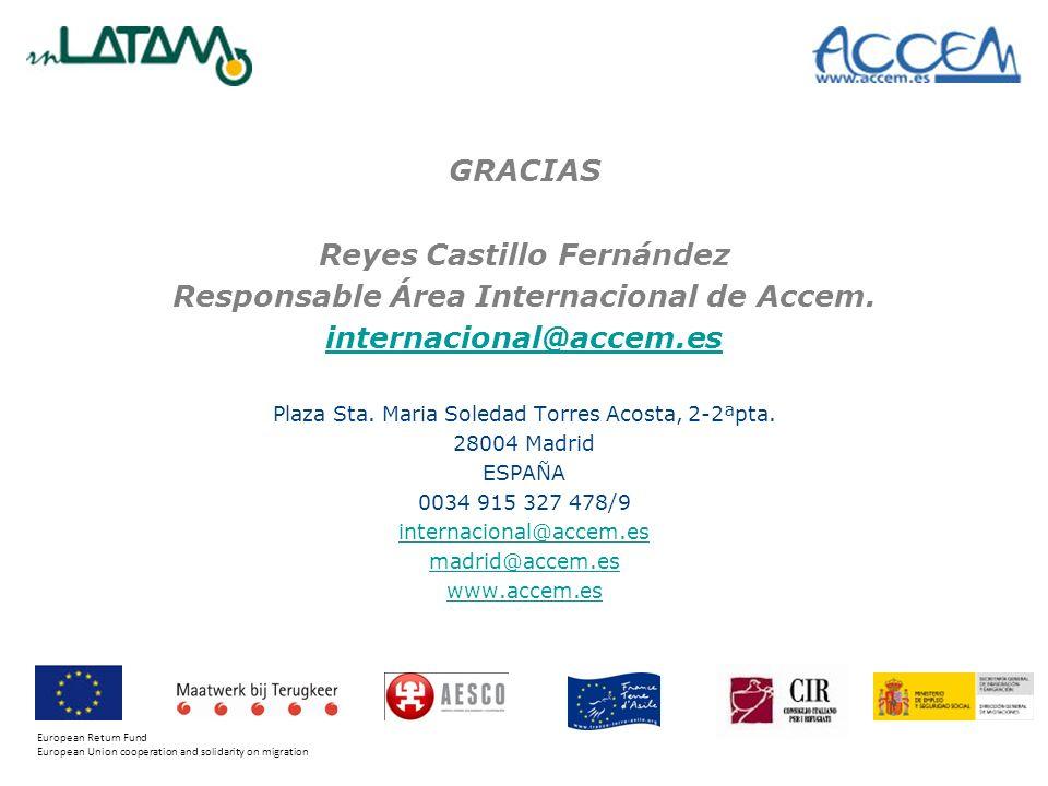 Reyes Castillo Fernández Responsable Área Internacional de Accem.