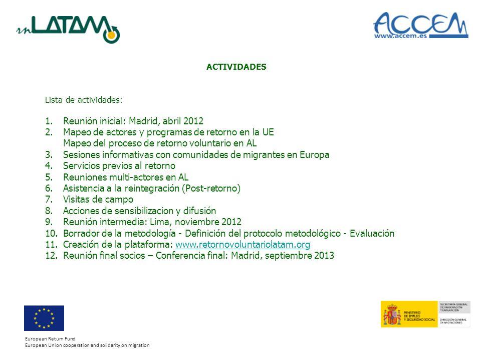 Reunión inicial: Madrid, abril 2012