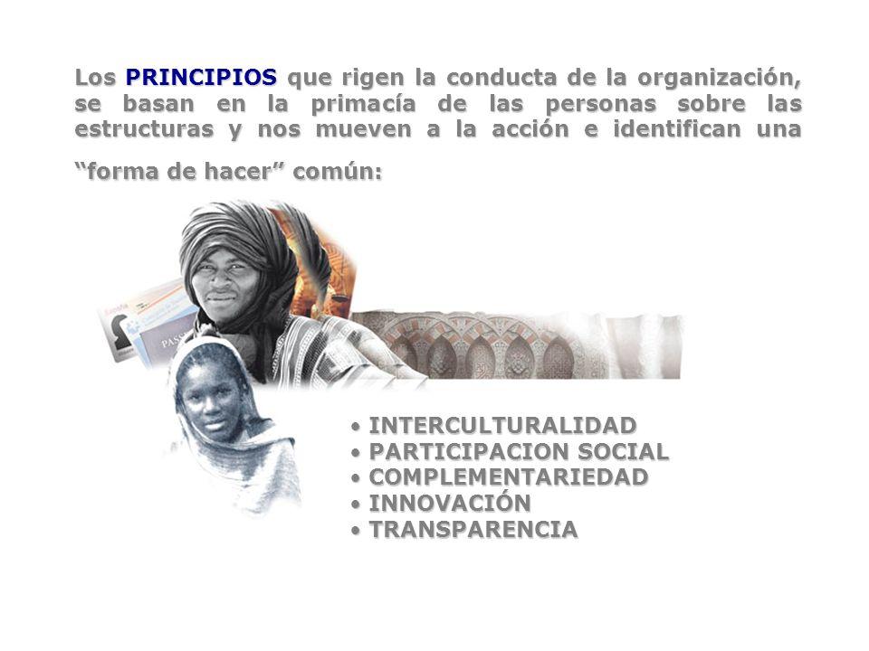 Los PRINCIPIOS que rigen la conducta de la organización, se basan en la primacía de las personas sobre las estructuras y nos mueven a la acción e identifican una forma de hacer común: