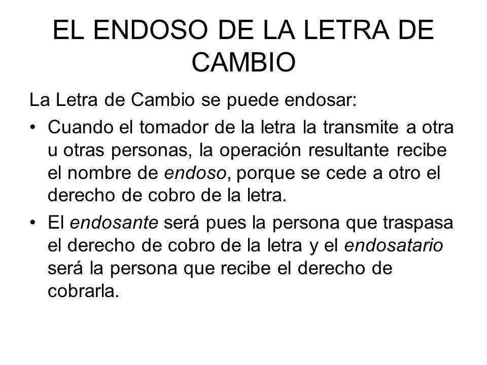 EL ENDOSO DE LA LETRA DE CAMBIO