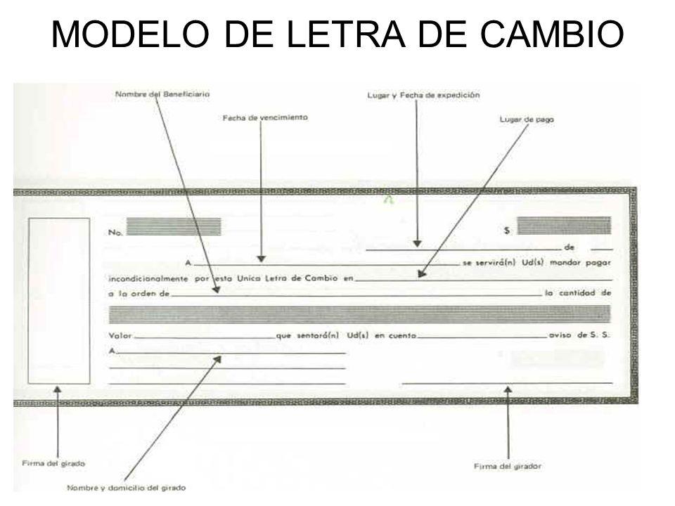 MODELO DE LETRA DE CAMBIO