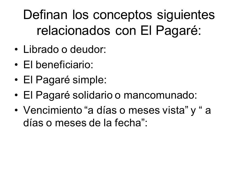 Definan los conceptos siguientes relacionados con El Pagaré: