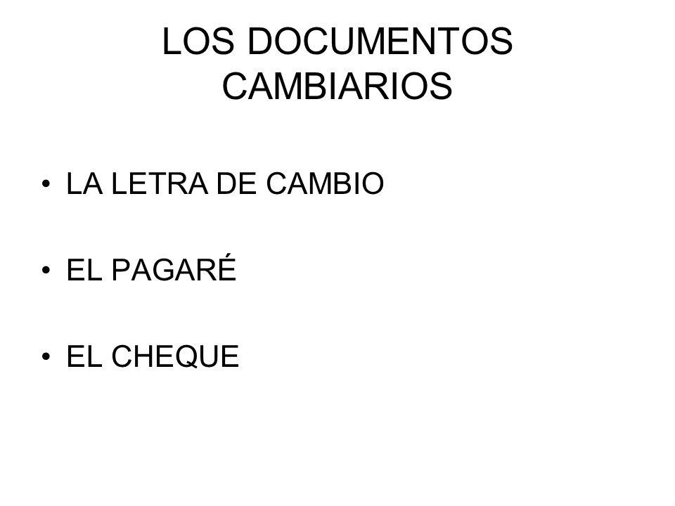 LOS DOCUMENTOS CAMBIARIOS