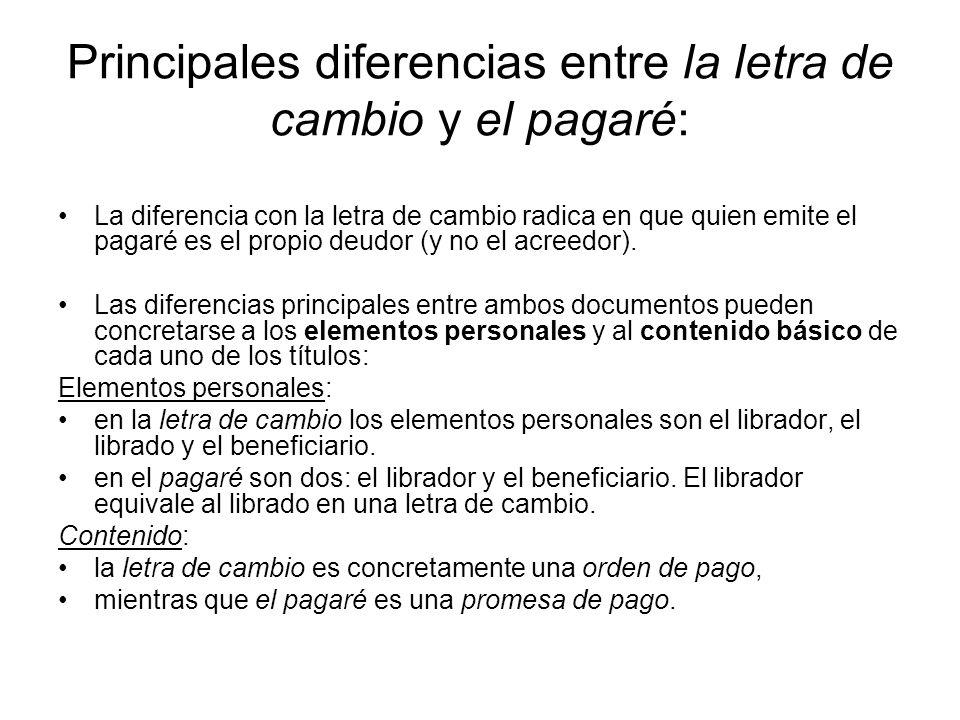 Principales diferencias entre la letra de cambio y el pagaré: