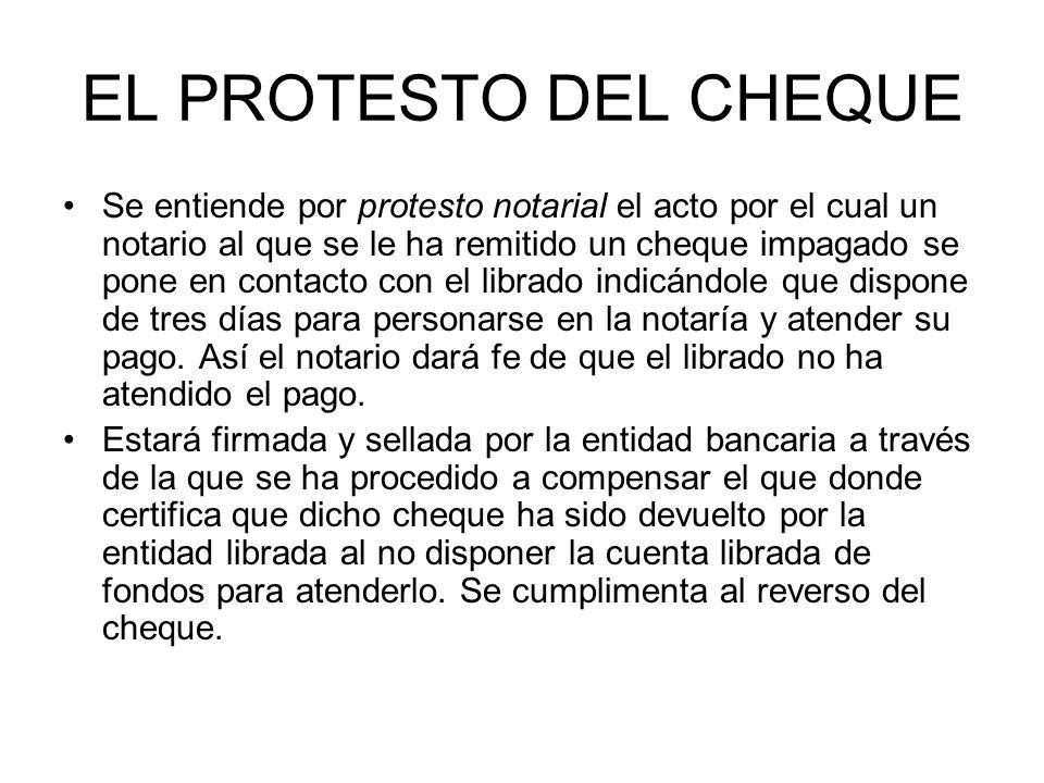 EL PROTESTO DEL CHEQUE