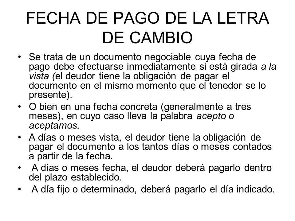 FECHA DE PAGO DE LA LETRA DE CAMBIO