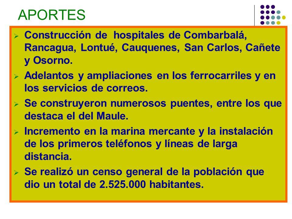 APORTES Construcción de hospitales de Combarbalá, Rancagua, Lontué, Cauquenes, San Carlos, Cañete y Osorno.