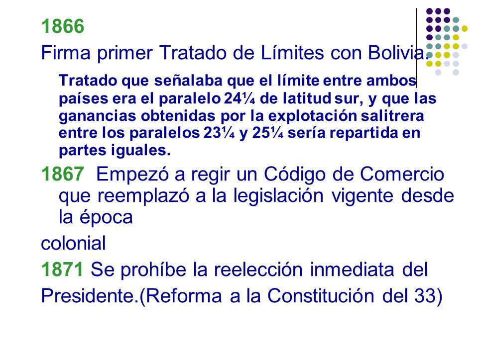 1866 Firma primer Tratado de Límites con Bolivia.