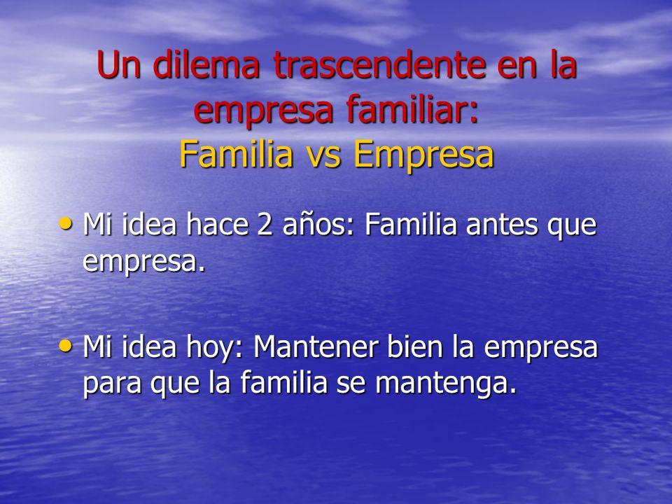 Un dilema trascendente en la empresa familiar: Familia vs Empresa