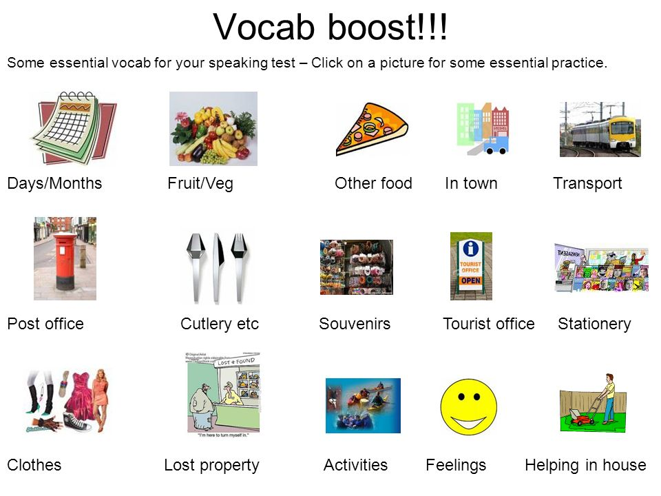 Vocab boost!!! Days/Months Fruit/Veg Other food In town Transport