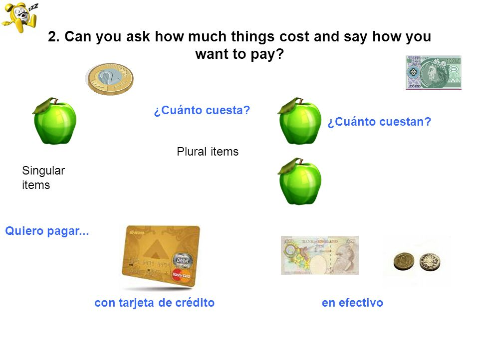 2. Can you ask how much things cost and say how you want to pay