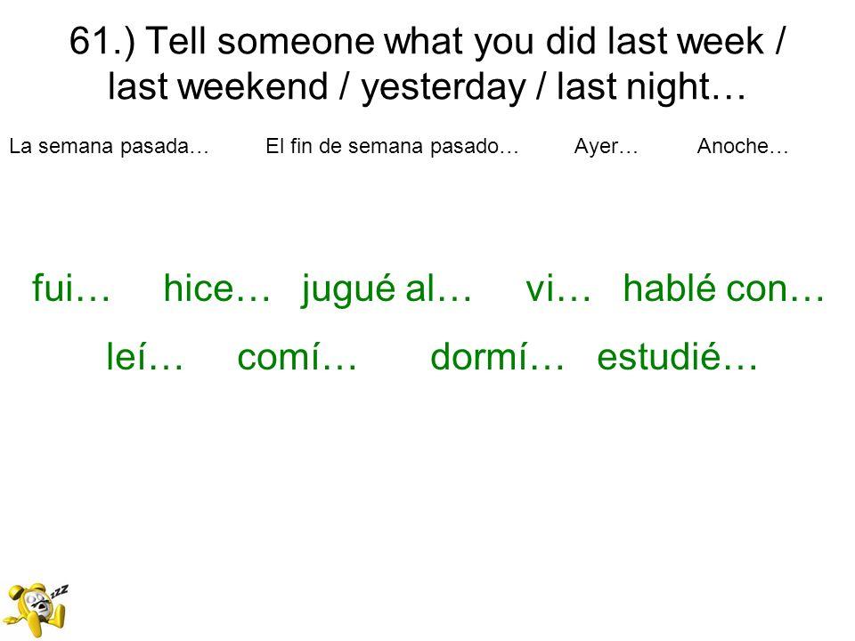 fui… hice… jugué al… vi… hablé con… leí… comí… dormí… estudié…