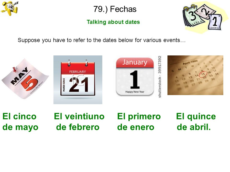 79.) Fechas Talking about dates. Suppose you have to refer to the dates below for various events…