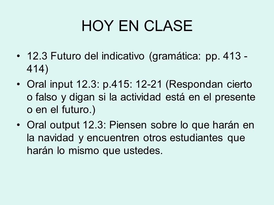HOY EN CLASE 12.3 Futuro del indicativo (gramática: pp. 413 - 414)