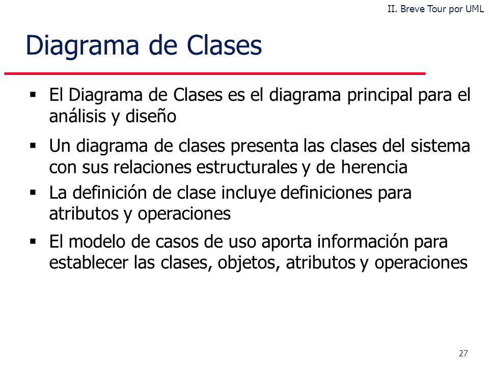 II. Breve Tour por UML Diagrama de Clases. El Diagrama de Clases es el diagrama principal para el análisis y diseño.