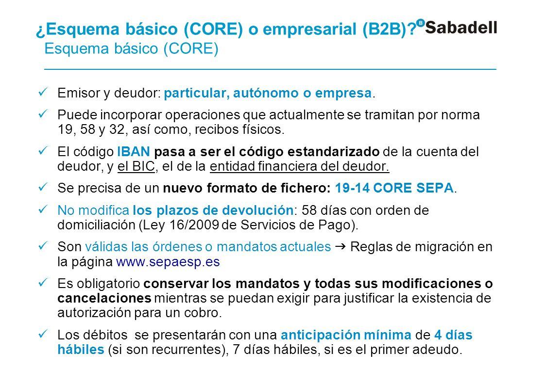 ¿Esquema básico (CORE) o empresarial (B2B) Esquema empresarial (B2B)