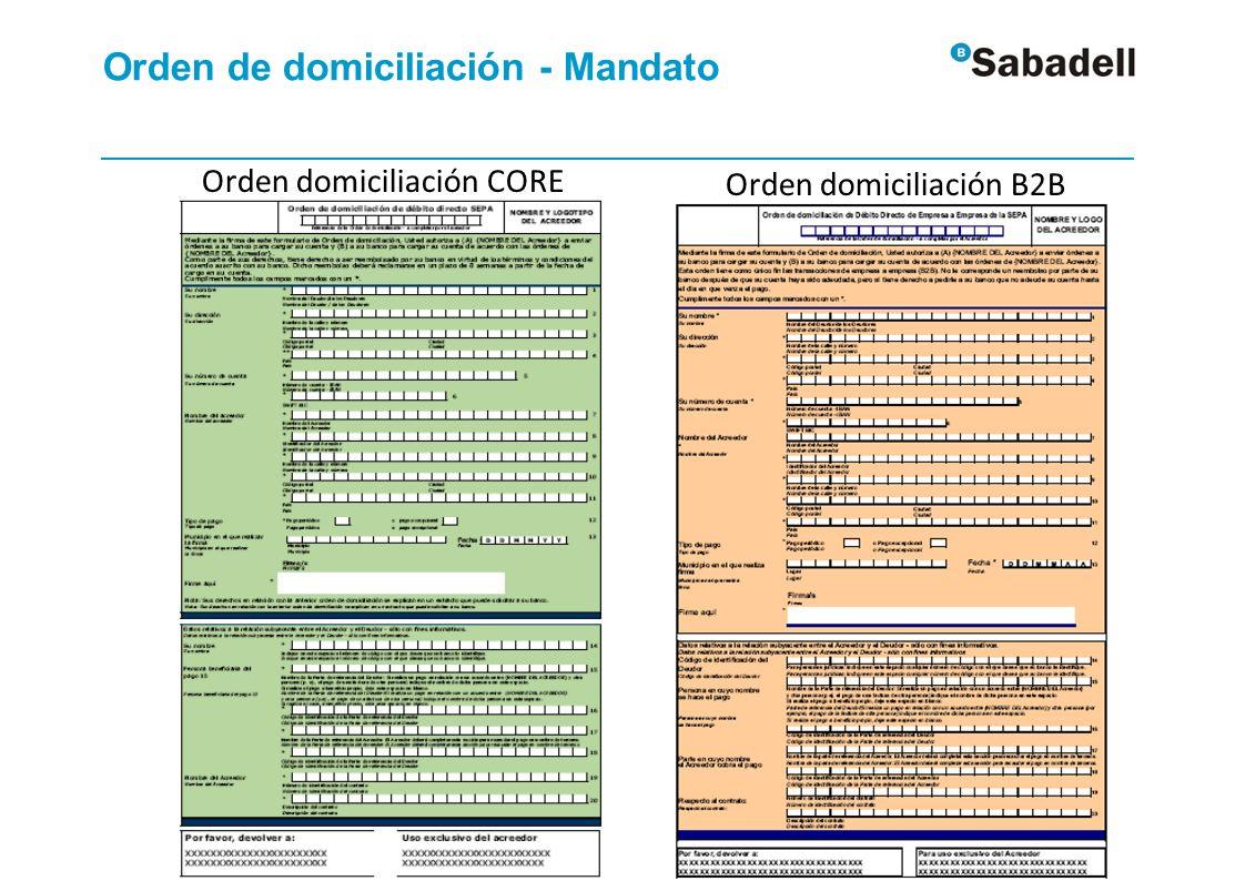 Orden de domiciliación - Mandato