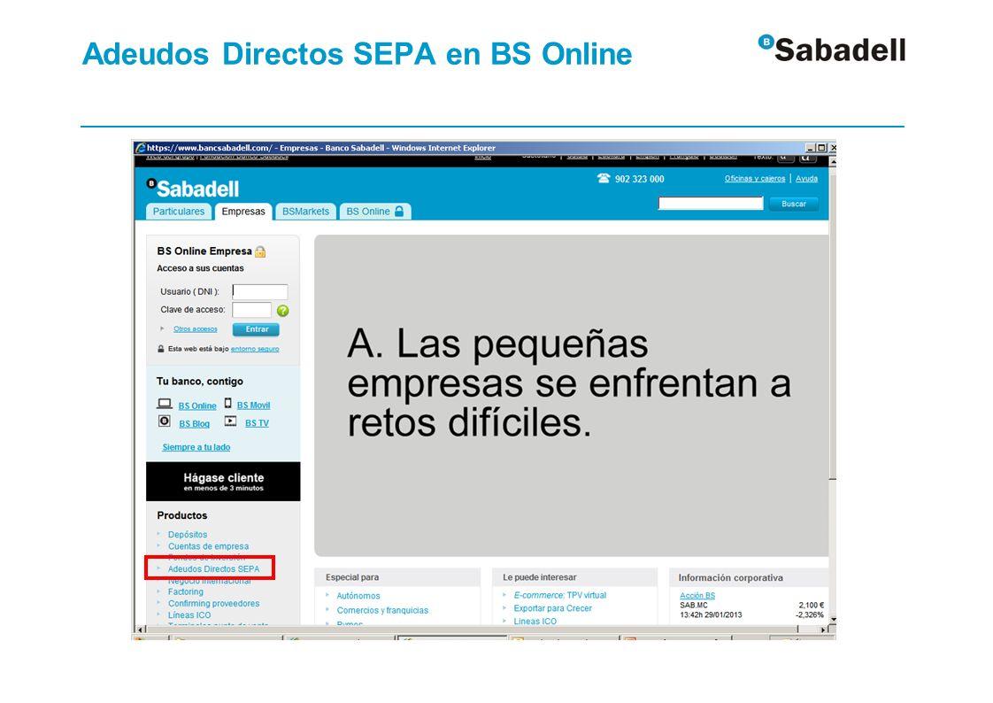 Adeudos Directos SEPA en BS Online