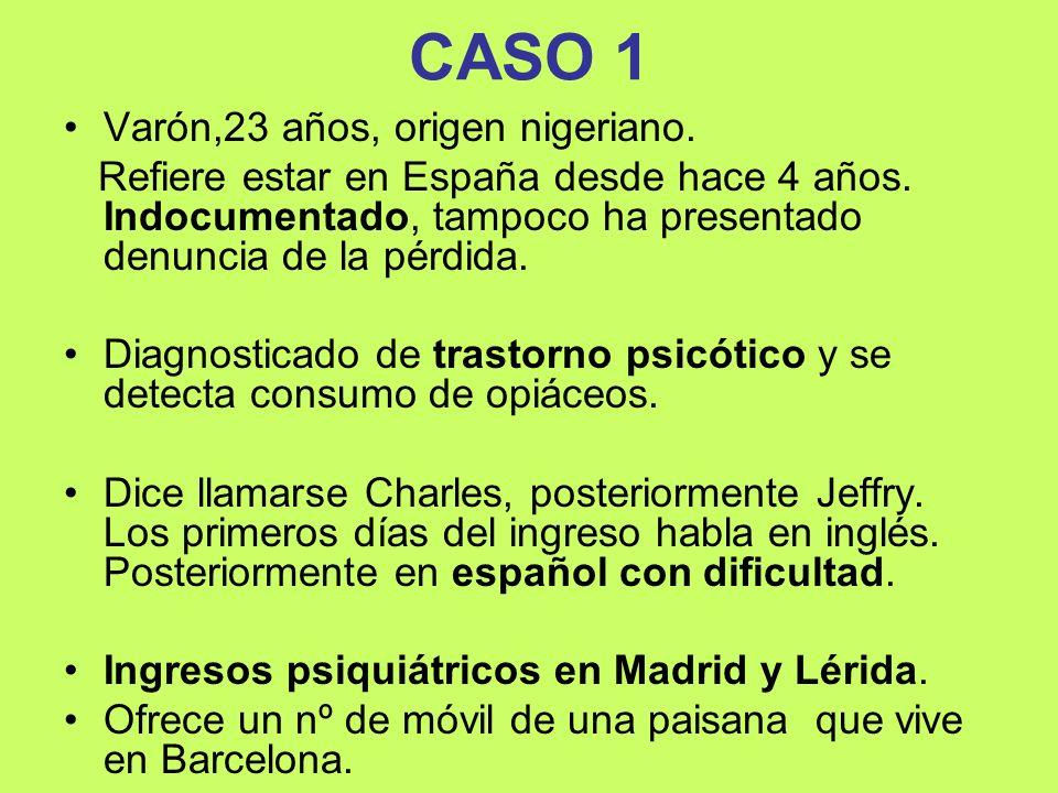 CASO 1 Varón,23 años, origen nigeriano.