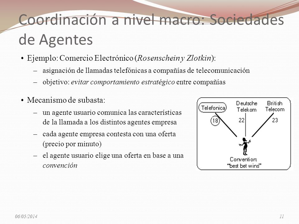 Coordinación a nivel macro: Sociedades de Agentes