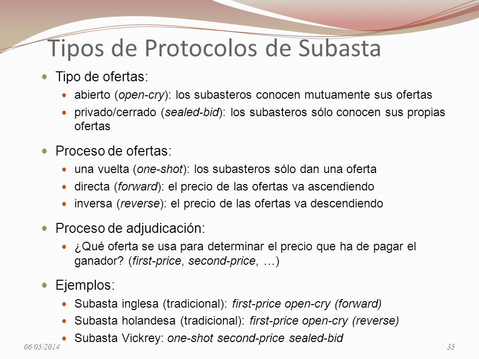 Tipos de Protocolos de Subasta