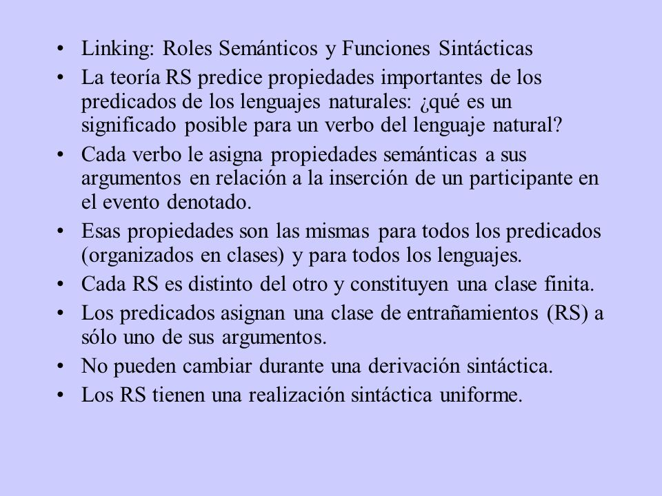 Linking: Roles Semánticos y Funciones Sintácticas