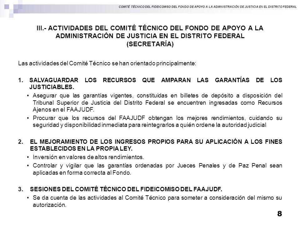 III.- ACTIVIDADES DEL COMITÉ TÉCNICO DEL FONDO DE APOYO A LA ADMINISTRACIÓN DE JUSTICIA EN EL DISTRITO FEDERAL (SECRETARÍA)