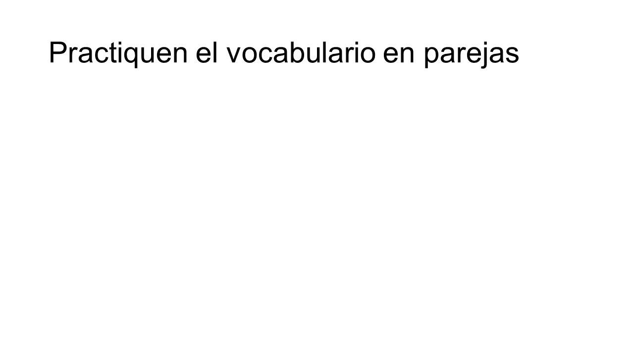 Practiquen el vocabulario en parejas
