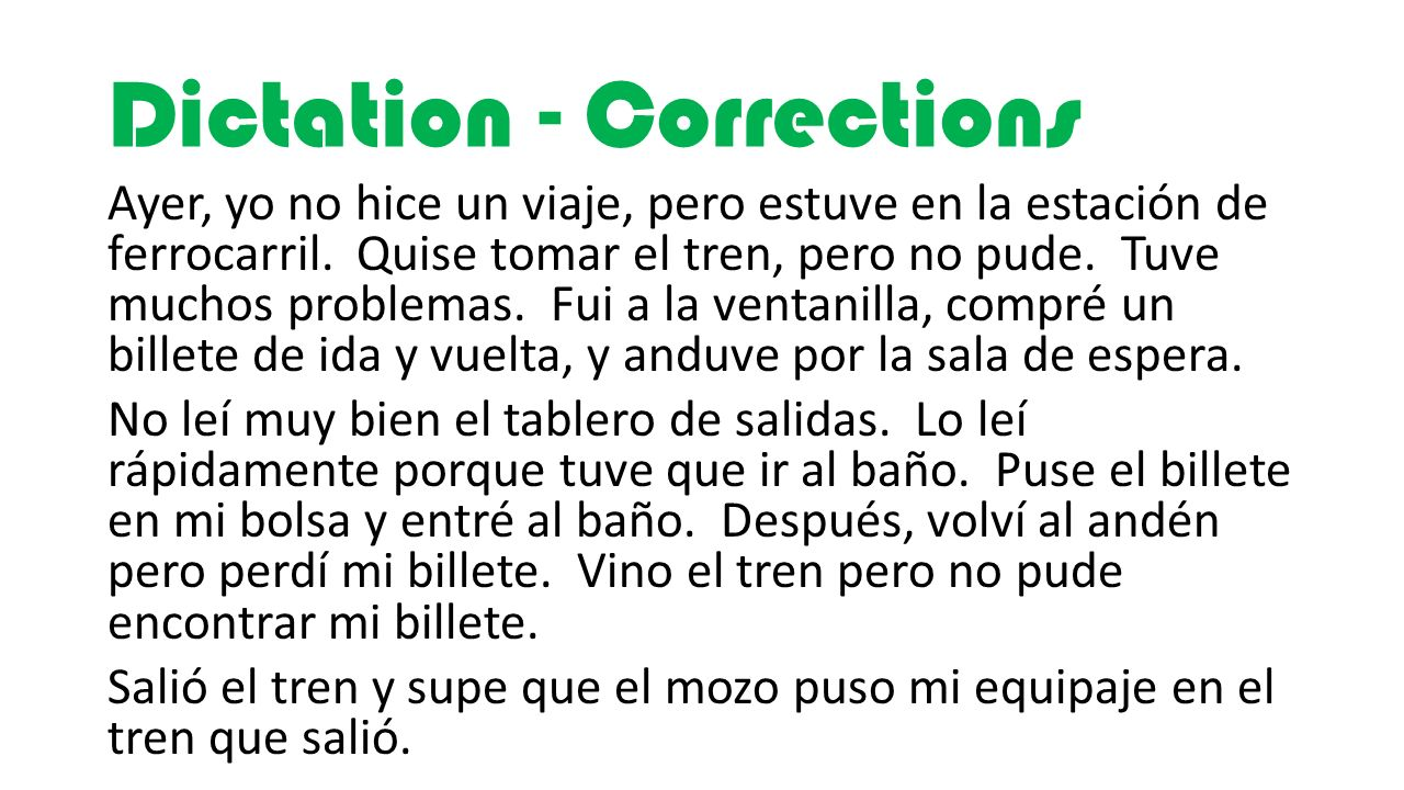 Dictation - Corrections