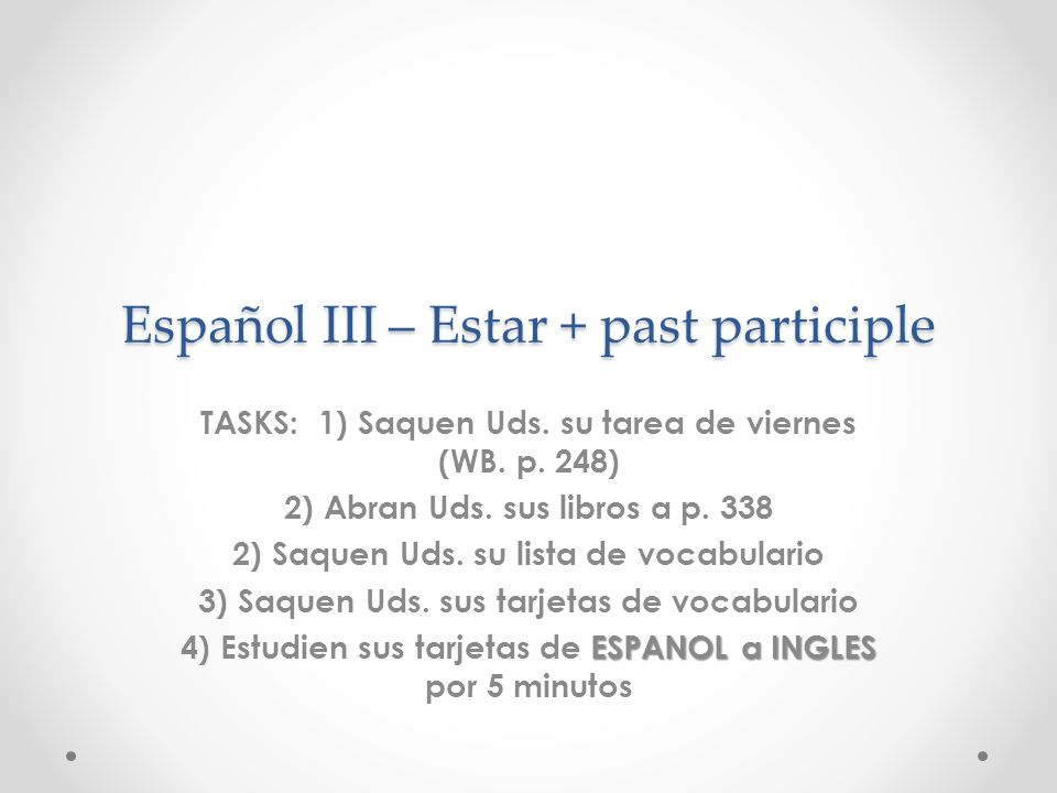 Español III – Estar + past participle