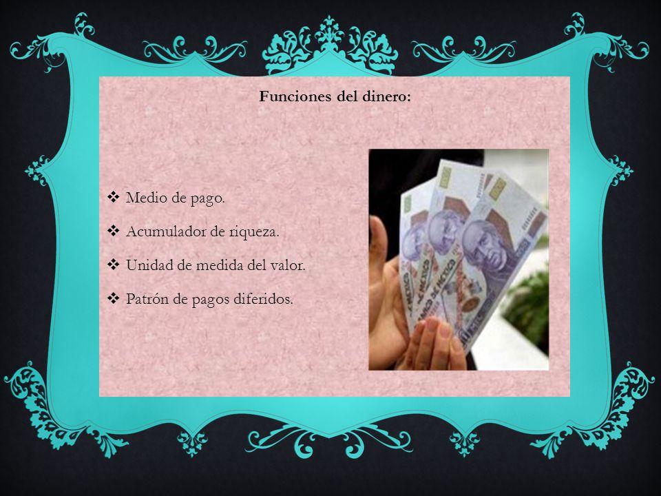 Funciones del dinero: Medio de pago. Acumulador de riqueza.